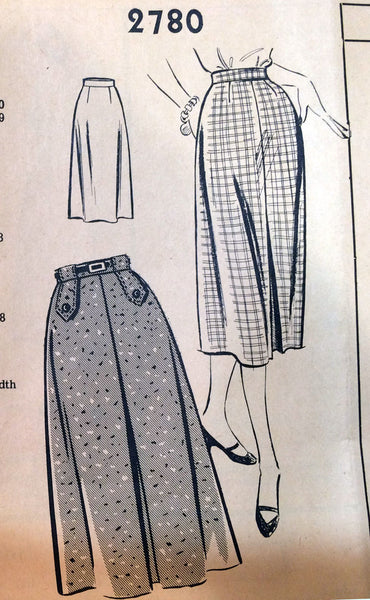 1950s Vintage Mail Order Sewing Pattern 2780 Misses Slender Skirt Size 24 Waist