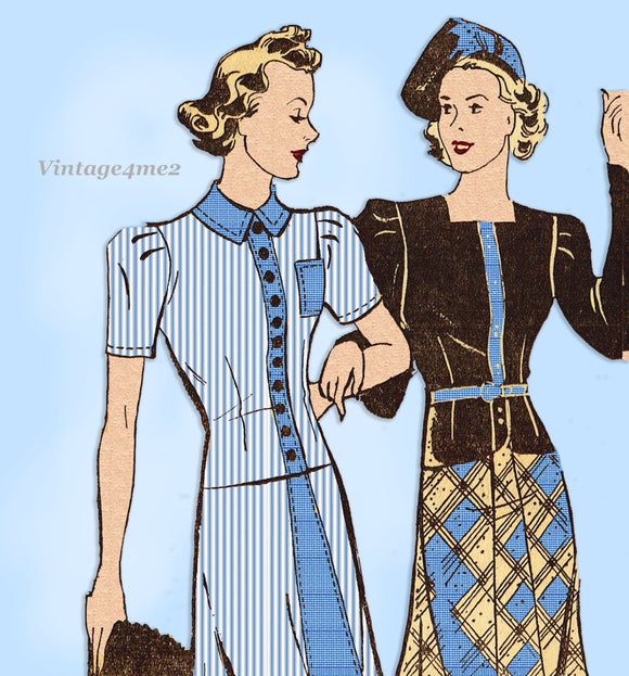 Mail Order 2782: 1930s Misses 2 Piece Suit Size 35 Bust Vintage Sewing Pattern