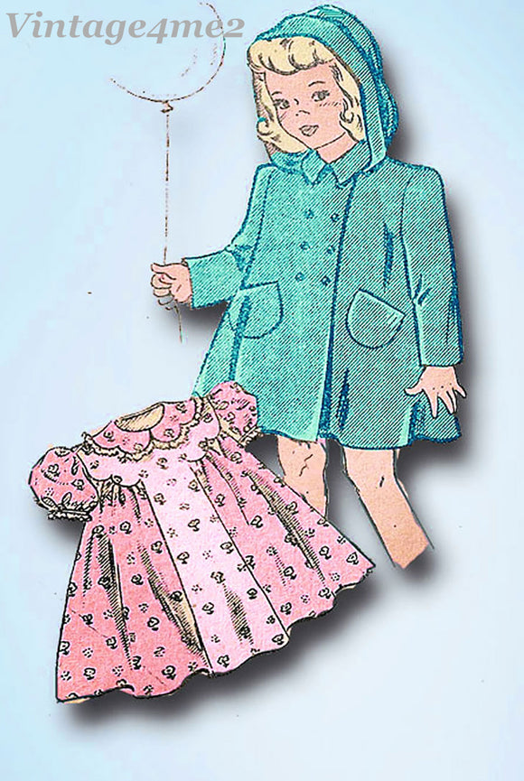 1940s Vintage Mail Order Sewing Pattern 2811 Baby Girls Dress and Coat Size 1
