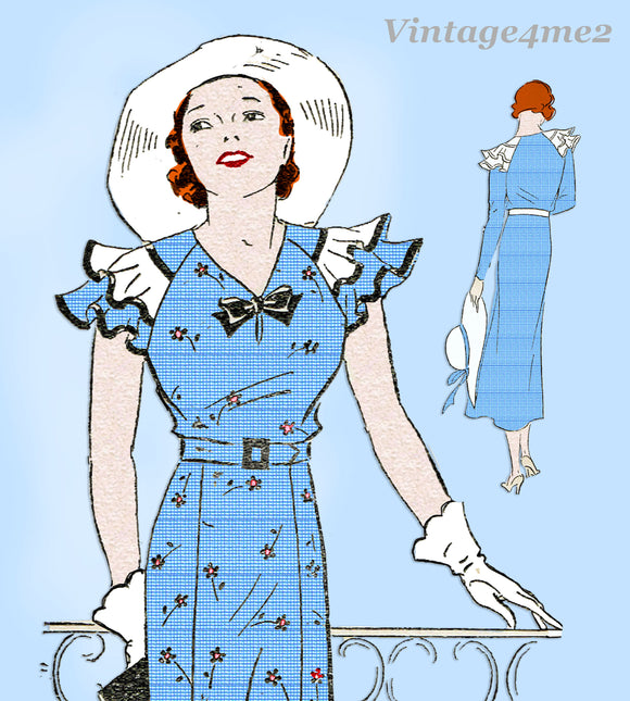 Mail Order 2832: 1930s Uncut Misses Afternoon Dress 34 B Vintage Sewing Pattern