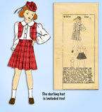 1930s Vintage Mail Order Sewing Pattern 2904 Girls Scottish Suit w Tam Size 8 - Vintage4me2