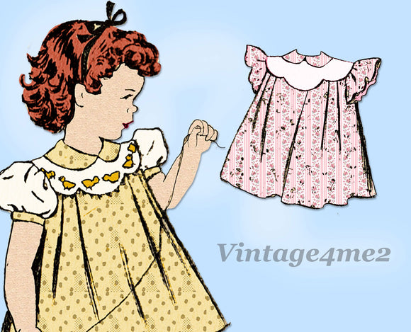 Fashion Service 2912: 1940s Cute Baby Girls Dress Size 1 Vintage Sewing Pattern