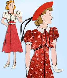 1930s Vintage Mail Order Sewing Pattern 2932 Junior Girls Bolero Dress Size 12