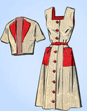 1950s Vintage Mail Order Sewing Pattern 2941 Misses Sun Dress & Topper Size 36 B