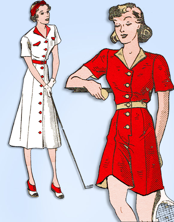 1930s Original Vintage Mail Order Pattern 3001 Uncut Sporty Dress & Playsuit 32B - Vintage4me2