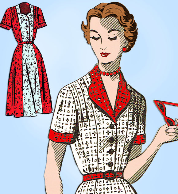 Fashion Service 3060: 1950s Ladies Shirtwaist Dress 39 B Vintage Sewing Pattern - Vintage4me2