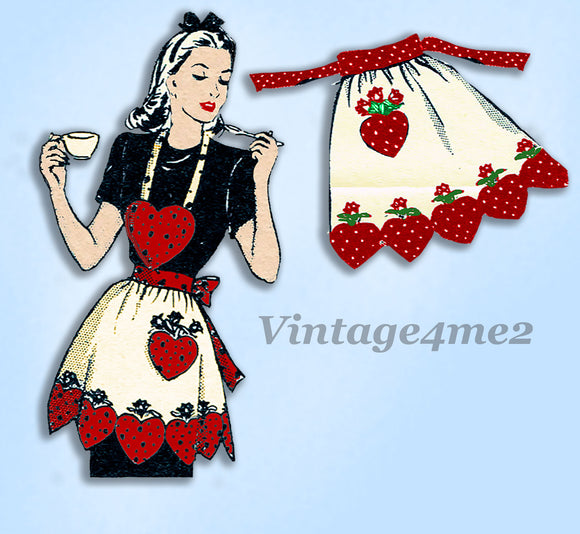 Mail Order 3084: 1950s Uncut Strawberry Apron Vintage Transfer Sewing Pattern