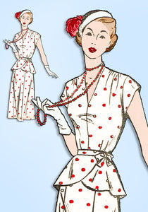 1940s Vintage Fashion Service Sewing Pattern 3099 Misses Peplum Dress Sz 34 Bust