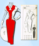 1950s Vintage Mail Order Sewing Pattern 311 Misses Sexy Wiggle Dress Size 12 30B
