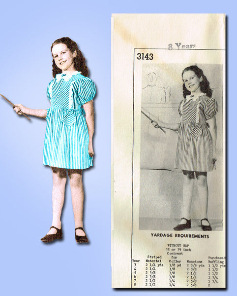 1940s Vintage Mail Order Sewing Pattern 3143 Uncut Girls Sunday Best Dress Sz 8 - Vintage4me2