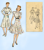 1940s Vintage Mail Order Sewing Pattern 3146 Misses WWII Shirtwaist Dress Sz 32B