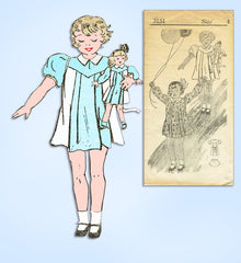 1930s Original Vintage Mail Order Pattern 3151 Toddler Girl & Doll Dress Size 4