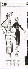 1950s Original Vintage Mail Order Pattern 329 Uncut Misses Wiggle Dress Sz 34 B