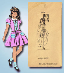 1940s Vintage Fashion Service Sewing Pattern 3546 WWII Little Girls Dress Size 8
