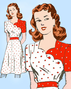1940s Vintage Mail Order Sewing Pattern 3678 Uncut Misses Scalloped Dress Sz 30B
