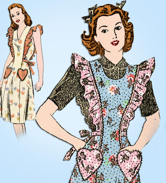 1940s Vintage Mail Order Sewing Pattern 3680 Uncut WWII Pinafore Apron Dress 32B - Vintage4me2