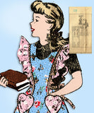 1940s Vintage Mail Order Sewing Pattern 3681 Uncut WWII Girls Pinafore Dress 12 - Vintage4me2