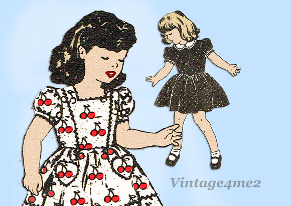 1940s Vintage Mail Order Sewing Pattern 3851 Baby Girls Dress Sz 1 - Vintage4me2