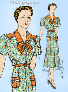 Mail Order 3892: 1930s Uncut Misses Street Dress Sz 38 B Vintage Sewing Pattern