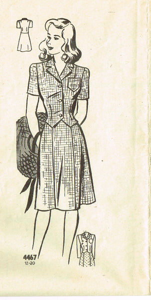 1940s Vintage Anne Adams Sewing Pattern 4467 Misses WWII Suit Size 12 30B - Vintage4me2