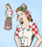 1940s Vintage Anne Adams Sewing Pattern 4503 Uncut Misses Dress & Hat Sz 34 Bust
