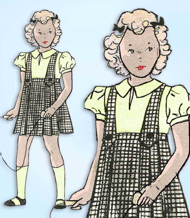 1930s Vintage Anne Adams Sewing Pattern 4503 Toddler Girls Skirt & Blouse Size 6