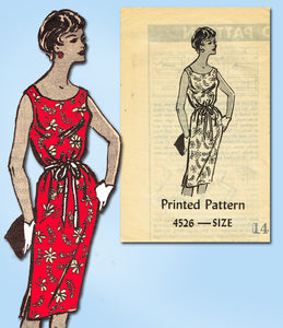 1960s Vintage Anne Adams Sewing Pattern 4526 Uncut Misses Sheath Dress Size 34 B - Vintage4me2