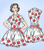 1950s Vintage Anne Adams Sewing Pattern 4585 Uncut Apron w Detachable Bib Sz Med