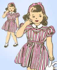 1940s Vintage Anne Adams Sewing Pattern 4588 WWII Toddler Girls Dress Size 4 23B