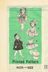 1950s Original Vintage Anne Adams Sewing Pattern 4626 18inch Doll Clothes Set