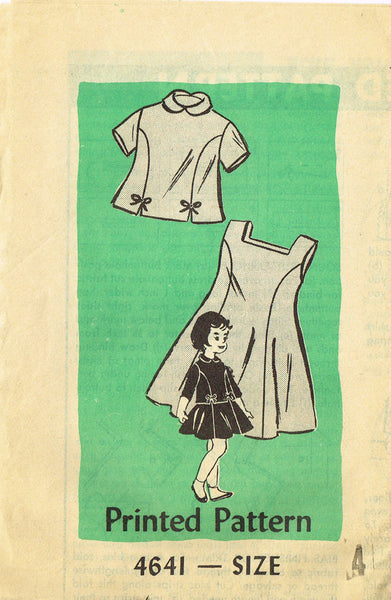 1950s Vintage Anne Adams Sewing Pattern 4641 Toddler Girls Jumper Dress Size 4
