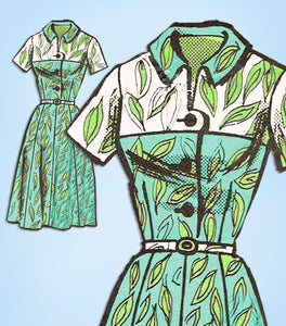 1960s Vintage Mail Order Sewing Pattern 4642 Uncut Misses Shirtwaist Dress 36 B