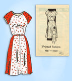 1950s Vintage Anne Adams Sewing Pattern 4687 Uncut Plus Size Day Dress 41 Bust