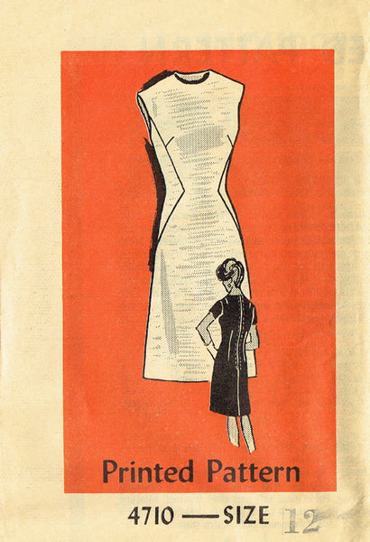 1960s Vintage Anne Adams Sewing Pattern 4710 FF Misses Stewardess Dress Size 12