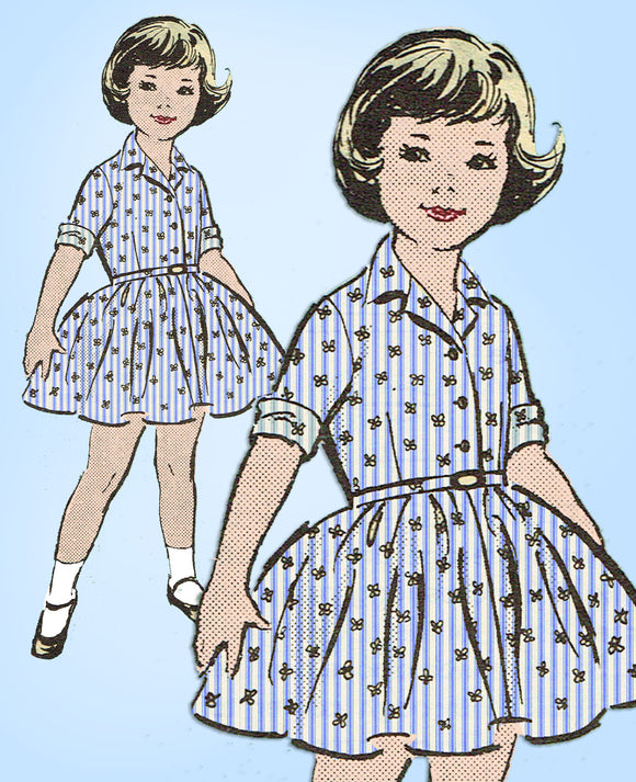 1950s Vintage Anne Adams Sewing Pattern 4747 Cute Toddler Girls Dress Sz 6 - Vintage4me2