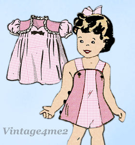 Anne Adams 4747: 1940s Cute Baby Girl Dress & Romper Sz1 Vintage Sewing Pattern