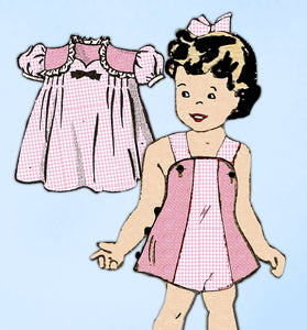 Anne Adams 4747: 1940s Uncut Baby Girl Dress & Romper Sz1 Vintage Sewing Pattern