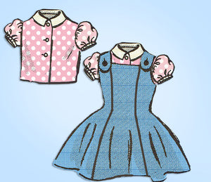Anne Adams 4758: 1950s Vintage Sewing Pattern Toddler Girls Sz 2 Jumper Dress Vintage4me2