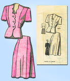 1940s Vintage Anne Adams Sewing Pattern 4805 Misses WWII Scalloped Suit Sz 16 - Vintage4me2