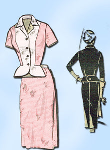 1950s Vintage Anne Adams Sewing Pattern Plus Size Ladies 2 Piece Dress Sz 43 B