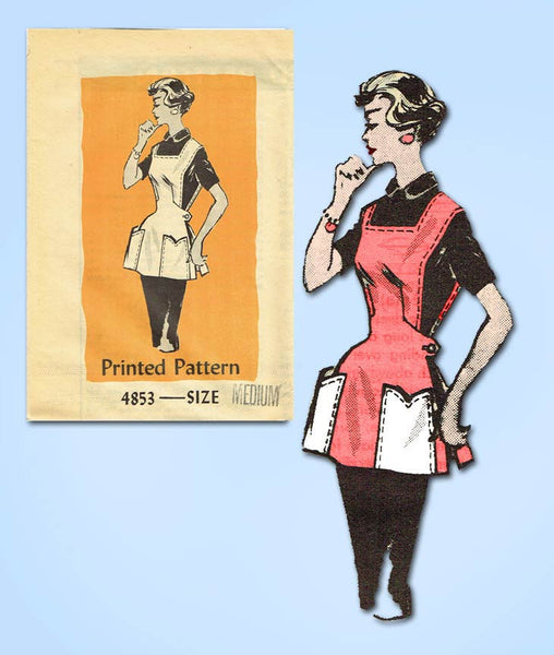 1950s Vintage Anne Adams Sewing Pattern 4852 Uncut Misses Coverall Apron 34-36 B