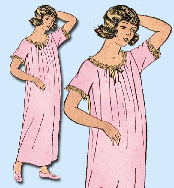 1910s Vintage Mail Order Sewing Pattern 4881 Little Girls Nightgown Size 8 26B - Vintage4me2