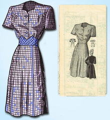 1940s Vintage Anne Adams Sewing Pattern 4882 Misses WWII Shirtwaist Dress Sz 32B - Vintage4me2