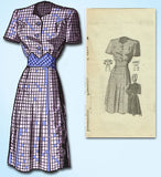 1940s Vintage Anne Adams Sewing Pattern 4882 Cute Misses WWII Dress Size 16 34B - Vintage4me2