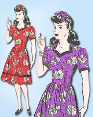 1940s Vintage Mail Order Sewing Pattern 539 FF MIsses WWII Sweetheart Dress 31 B - Vintage4me2