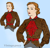Mail Order 595: 1930s Stunning Misses Blouse Size 32 Bust Vintage Sewing Pattern