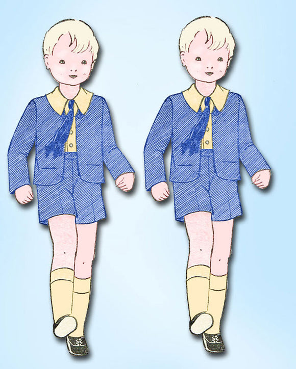 1930s Original Own Name Mail Order Pattern 683 Toddler Boys 3 Piece Suit Size 6