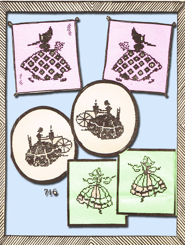 1940s Vintage Mail Order Embroidery Transfer 716 Uncut Cross Stitch Colonial Gal