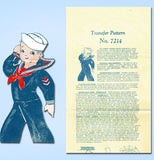 1940s Vintage Alice Brooks Transfer Pattern Uncut WWII Sailor Boy Sock Doll ORIG - Vintage4me2