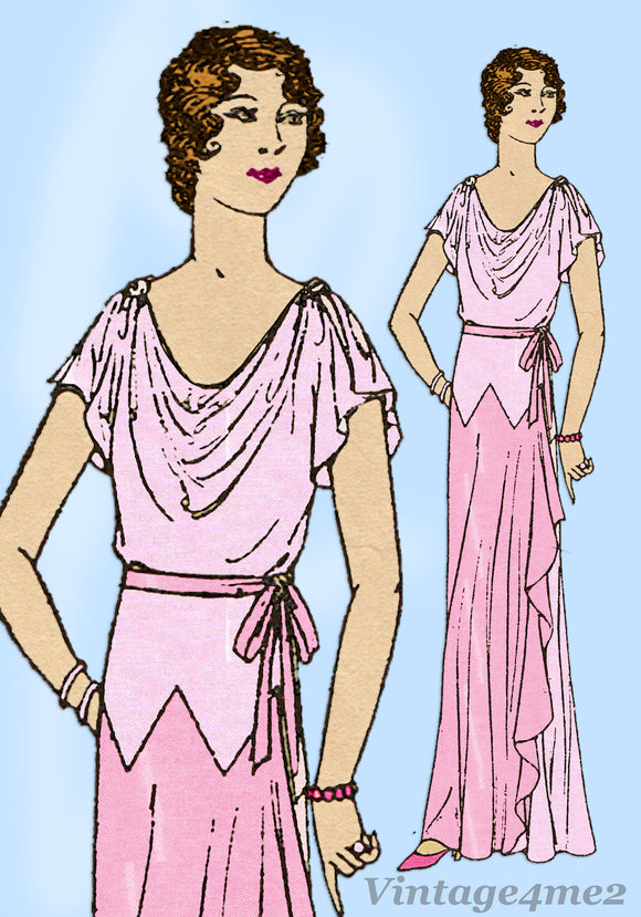 Mail Order 7322: 1930s Rare Misses Evening Gown Size 36 B Vintage Sewing Pattern - Vintage4me2